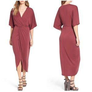 ASTR Wrap Front Kimono Midi Dress